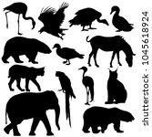 silhouette elephant tiger bear... | Shutterstock .eps vector #1045618924