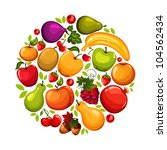 healthy lifestyle fruit circle | Shutterstock .eps vector #104562434