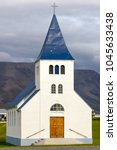 Small photo of Northern Iceland, Iceland - August 25th, 2017: the church of the village of Hofsos
