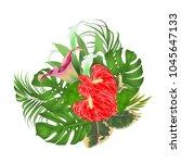 floral arrangement bouquet with ... | Shutterstock .eps vector #1045647133