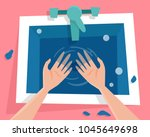 kitchen sink with water and wet ... | Shutterstock .eps vector #1045649698