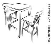 set of two bar stools and table ... | Shutterstock .eps vector #1045661998