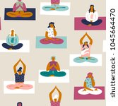 yoga class with people... | Shutterstock .eps vector #1045664470
