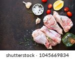 fresh meat. raw turkey shin ... | Shutterstock . vector #1045669834
