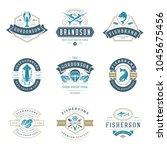 seafood restaurant logos set... | Shutterstock .eps vector #1045675456