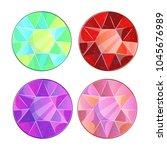 different circle precious stone ... | Shutterstock .eps vector #1045676989