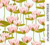 water lily lotus floral... | Shutterstock .eps vector #1045700818