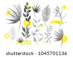 universal trend halftone floral ... | Shutterstock .eps vector #1045701136