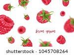 background of the raspberries.... | Shutterstock .eps vector #1045708264