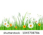 green nature border with grass... | Shutterstock . vector #1045708786