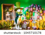 the feast of easter. rabbit... | Shutterstock . vector #1045710178