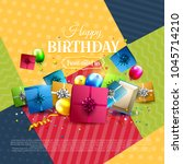 modern birthday greeting card... | Shutterstock .eps vector #1045714210