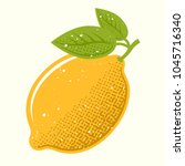yellow lemon with green leafs... | Shutterstock .eps vector #1045716340