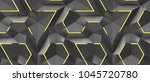 3d black panels with gold decor ... | Shutterstock . vector #1045720780