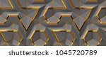 3d grey panels with gold decor... | Shutterstock . vector #1045720789