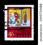 Small photo of MOSCOW, RUSSIA - NOVEMBER 26, 2017: A stamp printed in Canada shows Adoration of the Shepards, by Susie Matthias, Christmas (2000), Nativity serie, circa 2000