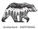 vector double exposure  hand... | Shutterstock .eps vector #1045730446