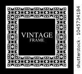 vintage white border frame with ... | Shutterstock .eps vector #1045734184