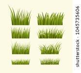 green grass   vector set | Shutterstock .eps vector #1045735606
