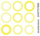 set of fire circles spiked... | Shutterstock .eps vector #1045737880