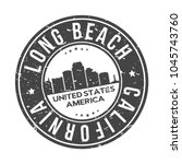 long beach california usa round ...   Shutterstock .eps vector #1045743760