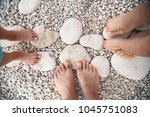 family feet standing on stone... | Shutterstock . vector #1045751083