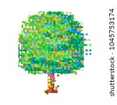 tree with glitch. corrupted... | Shutterstock .eps vector #1045753174