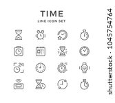 set line icons of time isolated ...   Shutterstock . vector #1045754764