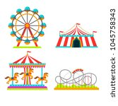 the amusement park elements set ... | Shutterstock .eps vector #1045758343