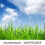 green grass over blue sky...   Shutterstock . vector #1045761829