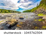 mountain forest river landscape | Shutterstock . vector #1045762504