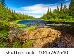 green forest river landscape | Shutterstock . vector #1045762540