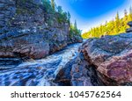 mountain forest river canyon... | Shutterstock . vector #1045762564