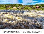 wild river flowing at forest... | Shutterstock . vector #1045762624