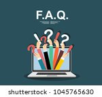 human hands holding question... | Shutterstock .eps vector #1045765630