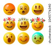 emoji smiley faces or yellow... | Shutterstock .eps vector #1045776340