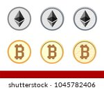 ethereum sign and bitcoin on... | Shutterstock .eps vector #1045782406