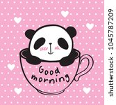 good morning. little cute panda ...   Shutterstock .eps vector #1045787209