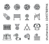 volleyball icon set | Shutterstock .eps vector #1045788946