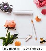 a desktop flatlay scene ... | Shutterstock . vector #1045789156