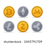 set of different cryptocurrency ... | Shutterstock .eps vector #1045791709