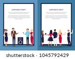 corporate party  people at club ... | Shutterstock .eps vector #1045792429