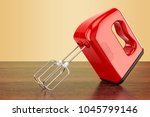 red kitchen mixer on the wooden ... | Shutterstock . vector #1045799146