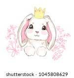 Stock vector hand drawn vector rabbit cute bunny 1045808629