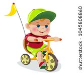 the boy in a cap on a tricycle | Shutterstock .eps vector #1045808860