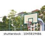 white plate of basketball hoop... | Shutterstock . vector #1045819486