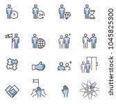 people icons line work group...   Shutterstock .eps vector #1045825300