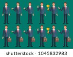 businessman in various poses... | Shutterstock .eps vector #1045832983