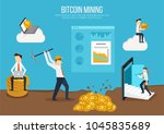 flat design concept for bitcoin ... | Shutterstock .eps vector #1045835689