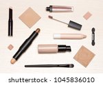 basic makeup products  primer ... | Shutterstock . vector #1045836010